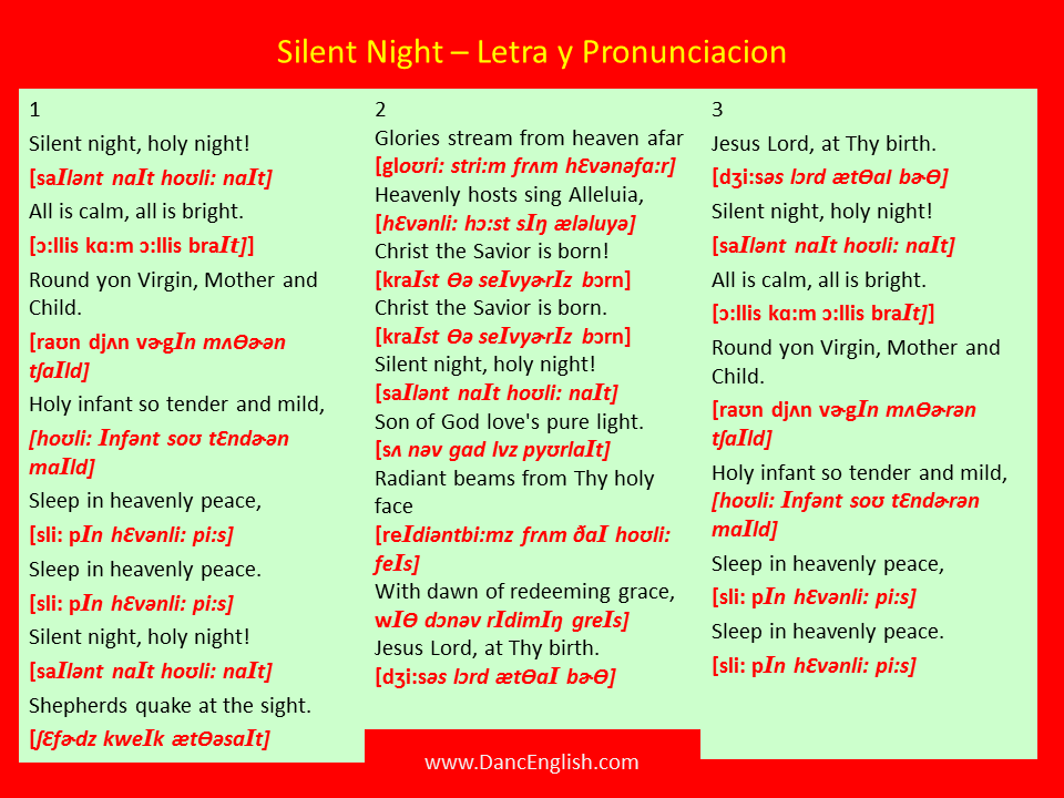 Silent Night – Letra y Pronunciacion